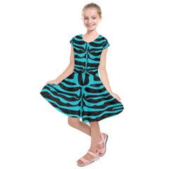 Skin2 Black Marble & Turquoise Colored Pencil (r) Kids  Short Sleeve Dress