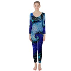Nocturne Of Scorpio, A Fractal Spiral Painting Long Sleeve Catsuit