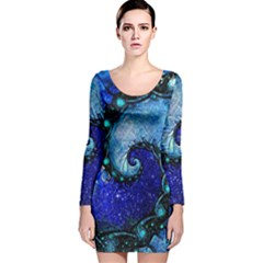 Nocturne Of Scorpio, A Fractal Spiral Painting Long Sleeve Velvet Bodycon Dress