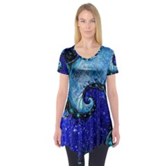 Nocturne Of Scorpio, A Fractal Spiral Painting Short Sleeve Tunic