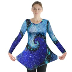 Nocturne Of Scorpio, A Fractal Spiral Painting Long Sleeve Tunic