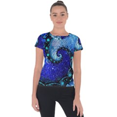 Nocturne Of Scorpio, A Fractal Spiral Painting Short Sleeve Sports Top