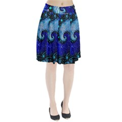 Nocturne Of Scorpio, A Fractal Spiral Painting Pleated Skirt