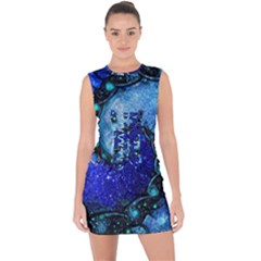 Nocturne Of Scorpio, A Fractal Spiral Painting Lace Up Front Bodycon Dress