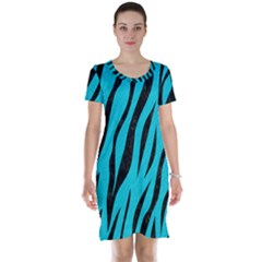 Skin3 Black Marble & Turquoise Colored Pencil Short Sleeve Nightdress