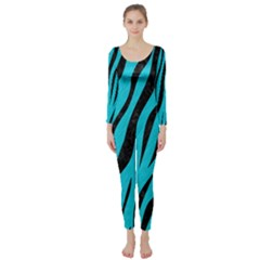 Skin3 Black Marble & Turquoise Colored Pencil Long Sleeve Catsuit