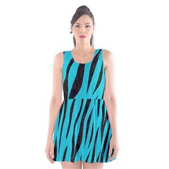 Skin3 Black Marble & Turquoise Colored Pencil Scoop Neck Skater Dress