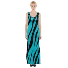 Skin3 Black Marble & Turquoise Colored Pencil Maxi Thigh Split Dress