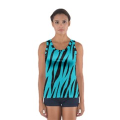 Skin3 Black Marble & Turquoise Colored Pencil Sport Tank Top