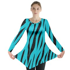 Skin3 Black Marble & Turquoise Colored Pencil Long Sleeve Tunic