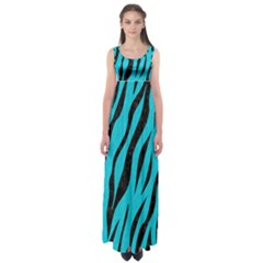 Skin3 Black Marble & Turquoise Colored Pencil Empire Waist Maxi Dress