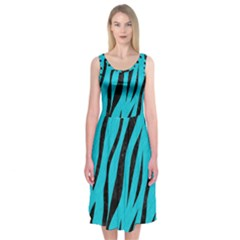Skin3 Black Marble & Turquoise Colored Pencil Midi Sleeveless Dress