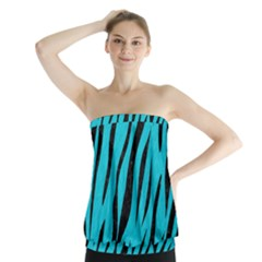 Skin3 Black Marble & Turquoise Colored Pencil Strapless Top