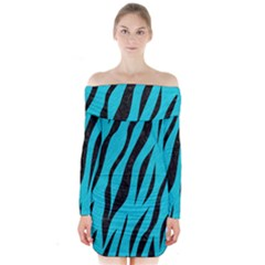 Skin3 Black Marble & Turquoise Colored Pencil Long Sleeve Off Shoulder Dress