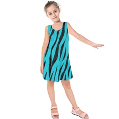 Skin3 Black Marble & Turquoise Colored Pencil Kids  Sleeveless Dress