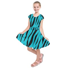 Skin3 Black Marble & Turquoise Colored Pencil Kids  Short Sleeve Dress