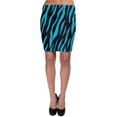 Skin3 Black Marble & Turquoise Colored Pencil (r) Bodycon Skirt