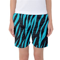 Skin3 Black Marble & Turquoise Colored Pencil (r) Women s Basketball Shorts