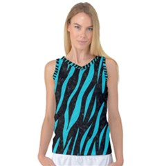 Skin3 Black Marble & Turquoise Colored Pencil (r) Women s Basketball Tank Top