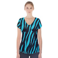 Skin3 Black Marble & Turquoise Colored Pencil (r) Short Sleeve Front Detail Top