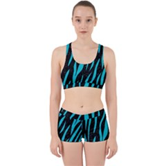 Skin3 Black Marble & Turquoise Colored Pencil (r) Work It Out Sports Bra Set