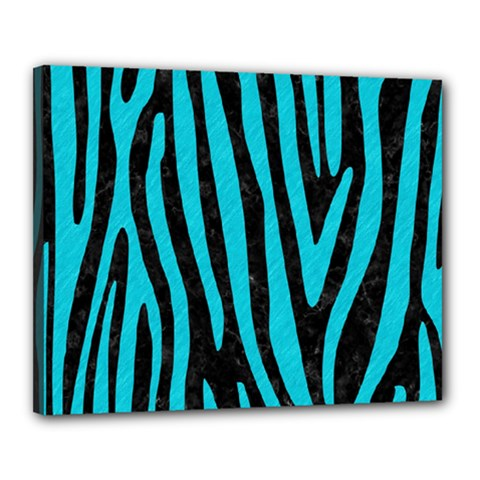 Skin4 Black Marble & Turquoise Colored Pencil Canvas 20  X 16