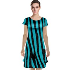 Skin4 Black Marble & Turquoise Colored Pencil Cap Sleeve Nightdress