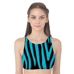Skin4 Black Marble & Turquoise Colored Pencil Tank Bikini Top