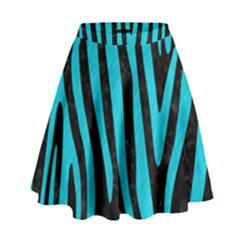 Skin4 Black Marble & Turquoise Colored Pencil High Waist Skirt