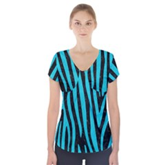 Skin4 Black Marble & Turquoise Colored Pencil Short Sleeve Front Detail Top