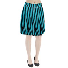 Skin4 Black Marble & Turquoise Colored Pencil Pleated Skirt
