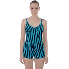 Skin4 Black Marble & Turquoise Colored Pencil Tie Front Two Piece Tankini