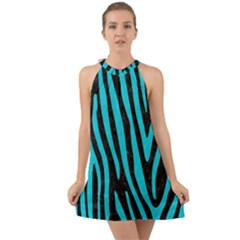 Skin4 Black Marble & Turquoise Colored Pencil Halter Tie Back Chiffon Dress