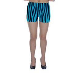 Skin4 Black Marble & Turquoise Colored Pencil (r) Skinny Shorts