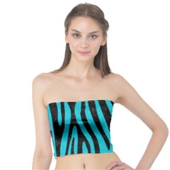 Skin4 Black Marble & Turquoise Colored Pencil (r) Tube Top