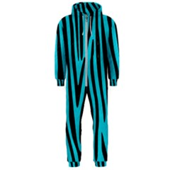 Skin4 Black Marble & Turquoise Colored Pencil (r) Hooded Jumpsuit (men)