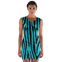 Skin4 Black Marble & Turquoise Colored Pencil (r) Wrap Front Bodycon Dress