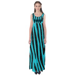 Skin4 Black Marble & Turquoise Colored Pencil (r) Empire Waist Maxi Dress