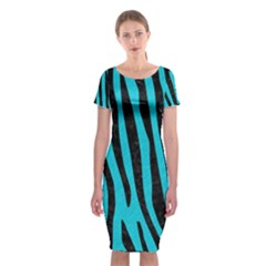 Skin4 Black Marble & Turquoise Colored Pencil (r) Classic Short Sleeve Midi Dress