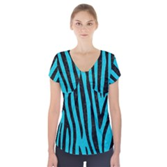 Skin4 Black Marble & Turquoise Colored Pencil (r) Short Sleeve Front Detail Top