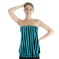 Skin4 Black Marble & Turquoise Colored Pencil (r) Strapless Top