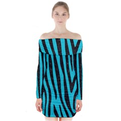 Skin4 Black Marble & Turquoise Colored Pencil (r) Long Sleeve Off Shoulder Dress