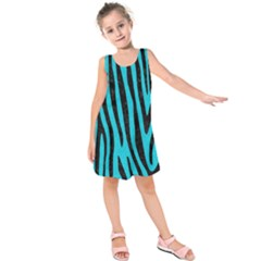 Skin4 Black Marble & Turquoise Colored Pencil (r) Kids  Sleeveless Dress