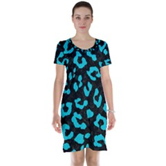 Skin5 Black Marble & Turquoise Colored Pencil Short Sleeve Nightdress