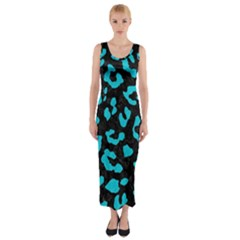 Skin5 Black Marble & Turquoise Colored Pencil Fitted Maxi Dress