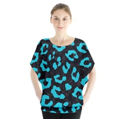 Skin5 Black Marble & Turquoise Colored Pencil Blouse