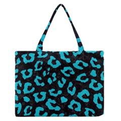 Skin5 Black Marble & Turquoise Colored Pencil Zipper Medium Tote Bag