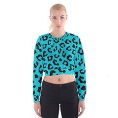 Skin5 Black Marble & Turquoise Colored Pencil (r) Cropped Sweatshirt
