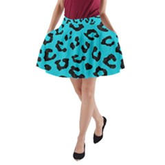 Skin5 Black Marble & Turquoise Colored Pencil (r) A Line Pocket Skirt