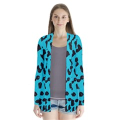 Skin5 Black Marble & Turquoise Colored Pencil (r) Drape Collar Cardigan
